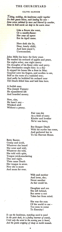 The Churchyard, Clive Sansom, Poem