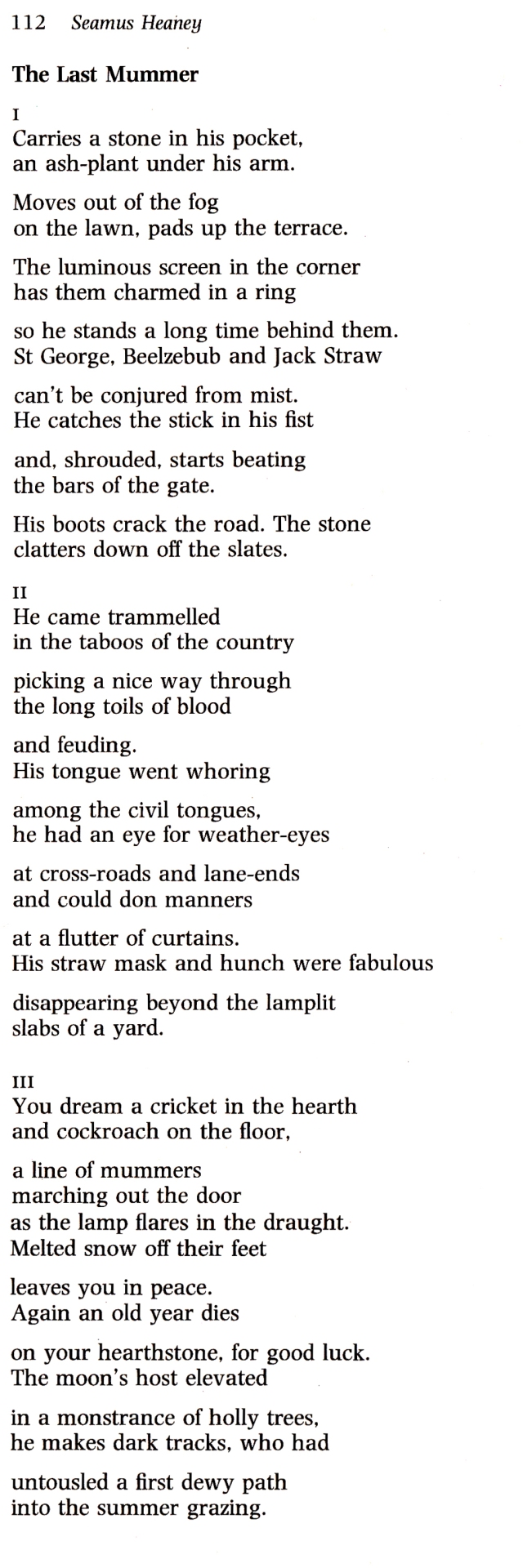 seamus heaney, the last mummer