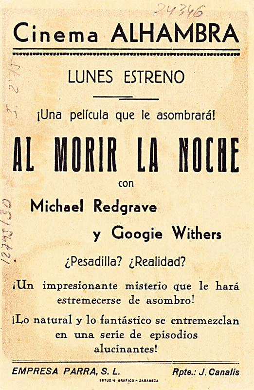 dead of night - spanish handbill 1 back - whenchurchyardsyawn